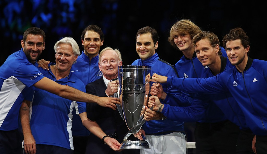 PRAGUE, CZECH REPUBLIC - SEPTEMBER 24: (L-R) Marin Cilic, Bjorn Borg, Rafael Nadal, Rod Laver, Roger Federer, Alexander Zverev, Tomas Berdych and Dominic Thiem of Team Europe lift the Laver Cup trophy on the final day of the Laver cup on September 24, 2017 in Prague, Czech Republic. The Laver Cup consists of six European players competing against their counterparts from the rest of the World. Europe will be captained by Bjorn Borg and John McEnroe will captain the Rest of the World team. The event runs from 22-24 September. (Photo by Julian Finney/Getty Images for Laver Cup)